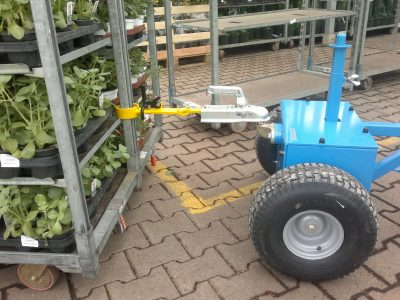 Electric-dolly-mover-M18-2 - Multimover M18 -- electric tug - power tug - electric tugger - electric tow tugs - Motorized tug - pedestrian electric tug - electric mover - Gardening - flower trailer - nursery